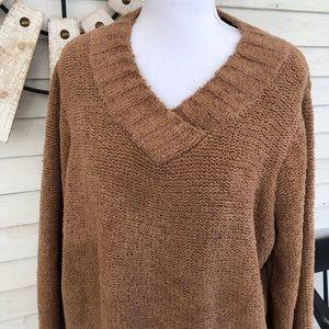 Golden Brown Soft Plush V Neck Sweater